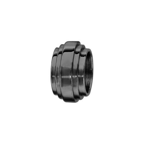 Charms bracelet homme acier godron noir