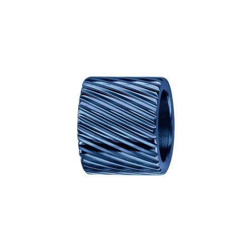Charms bracelet homme acier forme tube strié bleu