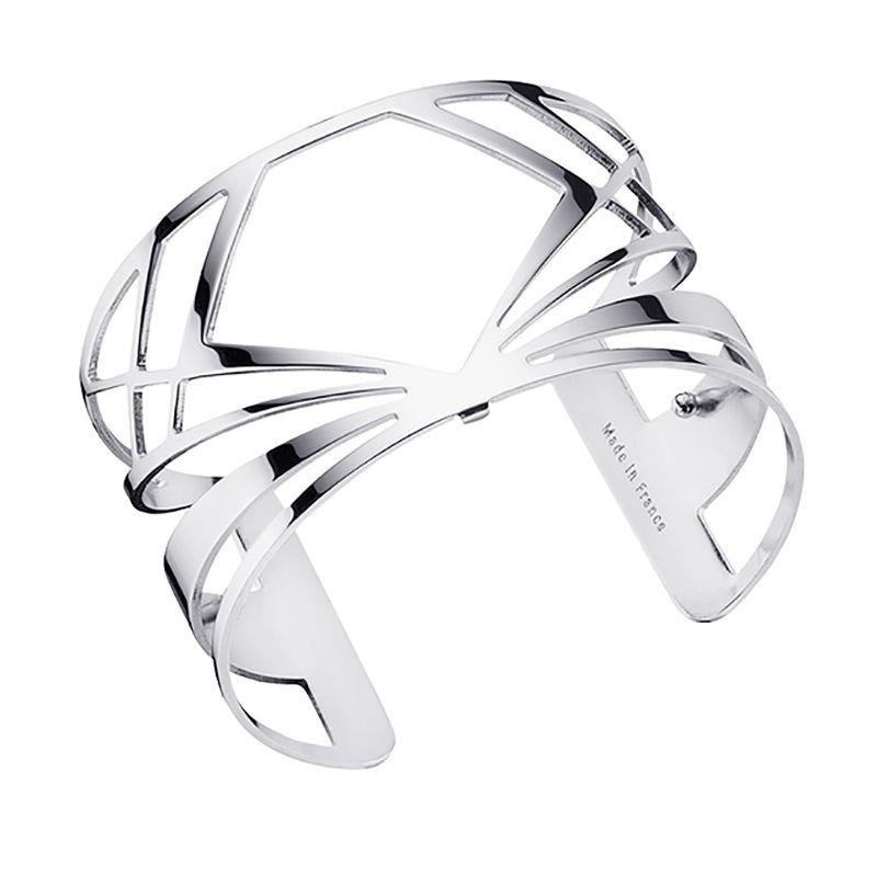 Bracelet manchette Les Georgettes motif bahia finition Argent large