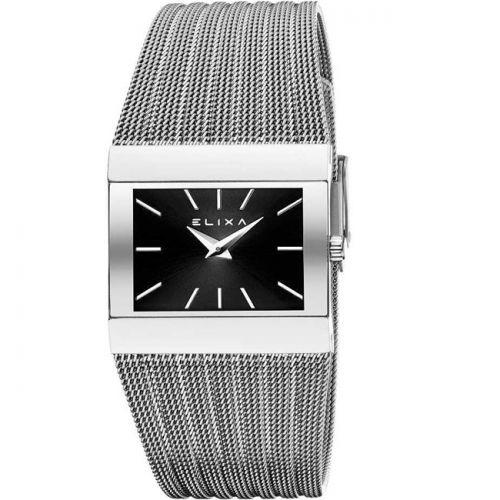 Montre femme Elixa rectangulaire bracelet milanais