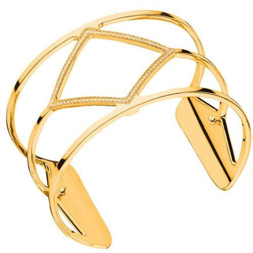 Bracelet manchette Les Georgettes précieuses losange finition Or jaune large et oxydes