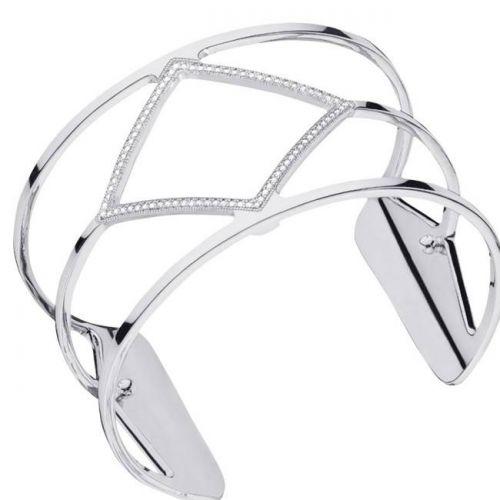 Bracelet manchette Les Georgettes précieuses losange finition Argent large et oxydes
