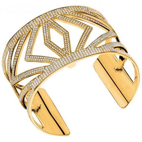 Bracelet manchette Les Georgettes précieuses chevrons finition Or jaune large et oxydes