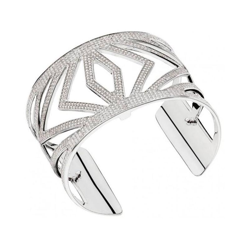 Bracelet manchette Les Georgettes précieuses chevrons finition Argent large et oxydes
