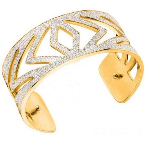 Bracelet manchette Les Georgettes précieuses chevrons finition Or jaune medium et oxydes