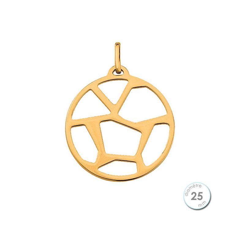 Pendentif femme Les Georgettes finition Or jaune motif girafe diamètre 25 mm