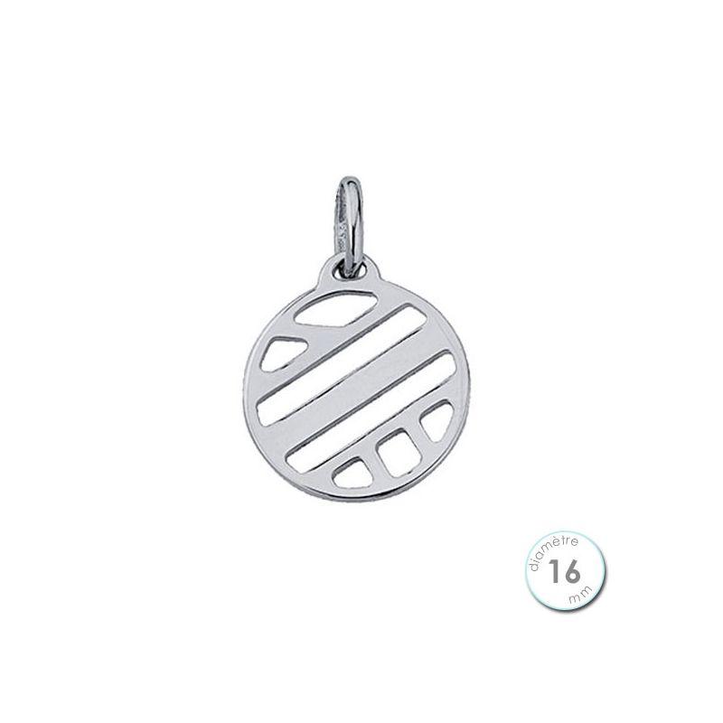 Pendentif femme Les Georgettes finition Argent motif ruban diamètre 16 mm