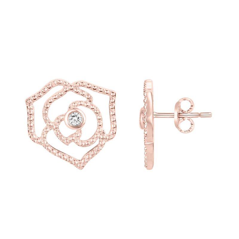 Boucles d'oreilles Plaqué Or rose et Diamant roses La Garçonne