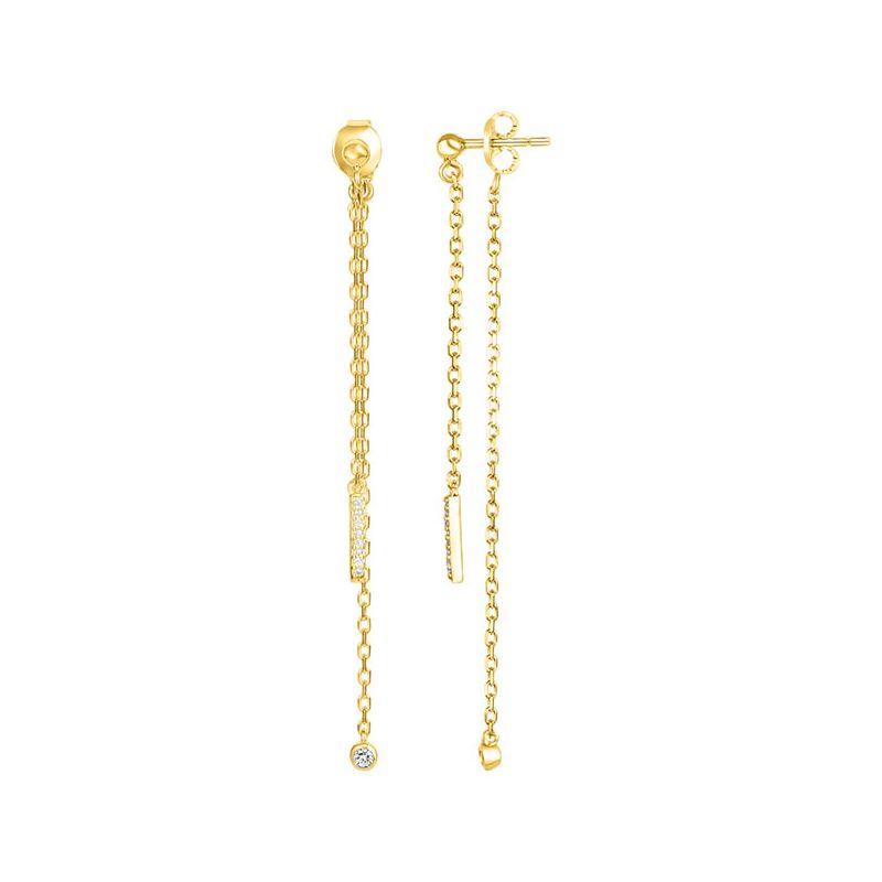 Boucles d'oreilles Plaqué Or jaune et Diamant pendantes La Garçonne