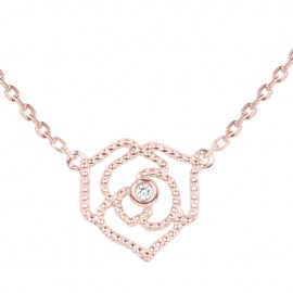 Collier Plaqué Or rose et Diamant La Garçonne