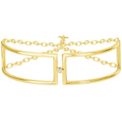 Bracelet Plaqué Or jaune et Diamant la Garçonne semi-rigide