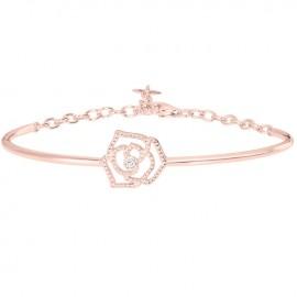 Bracelet Plaqué Or rose et Diamant la Garçonne semi-rigide