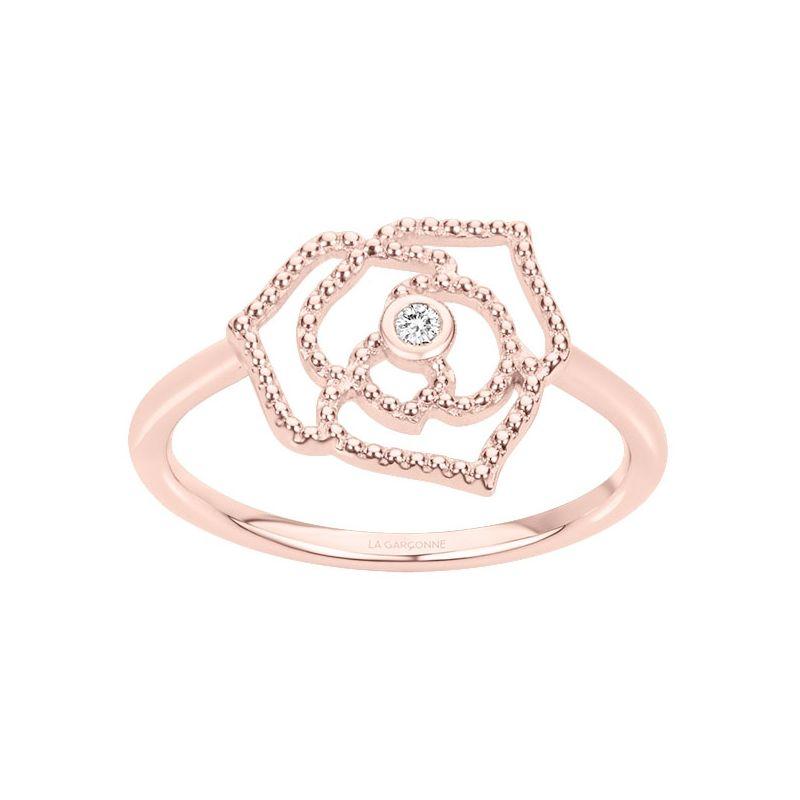 Bague Plaqué Or rose et Diamant La Garçonne