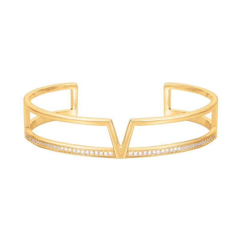 Bracelet manchette Plaqué Or jaune et oxydes de zirconium Phebus and Co