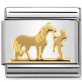 Maillon Nomination classic cheval et jockey en Or
