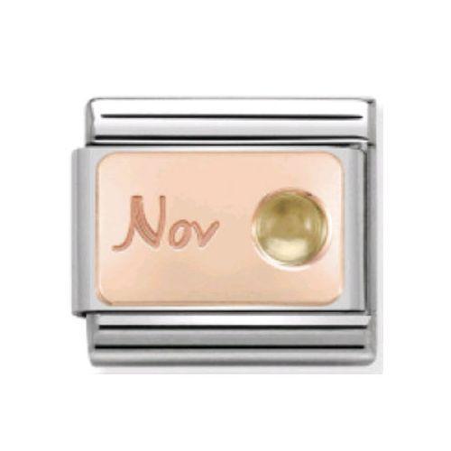 Maillon Nomination classic mois de Novembre et citrine en Or rose