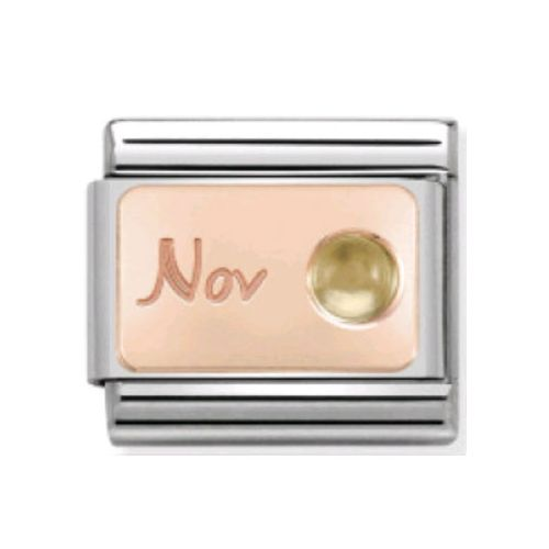 Maillon Nomination classic mois de Novembre et citrine en Or rose