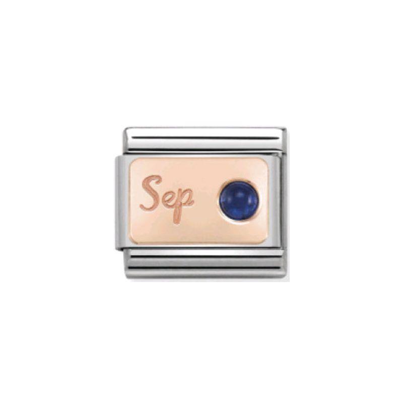 Maillon Nomination classic mois de Septembre et Saphir en Or rose