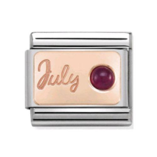 Maillon Nomination classic mois de Juillet et Rubis en Or rose