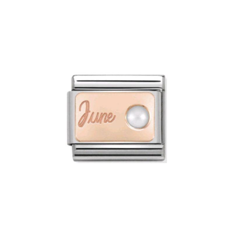 Maillon Nomination classic mois de Juin et Perle en Or rose
