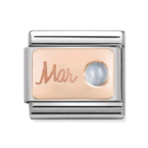 Maillon Nomination classic mois de Mars et Aigue Marine en Or rose