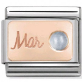 Maillon Nomination classic mois de Mars et Aigue Marine en Or rose