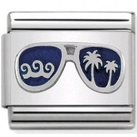 Maillon Nomination classic lunettes bleues en Argent
