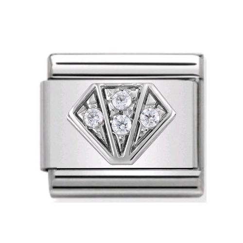 Maillon Nomination classic diamant et oxydes blancs en Argent