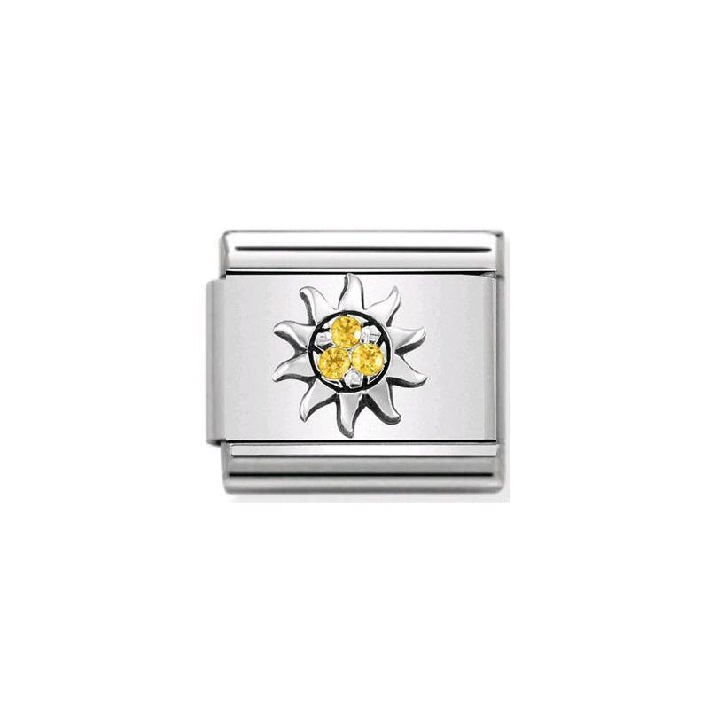 Maillon Nomination classic soleil et oxydes jaunes en Argent