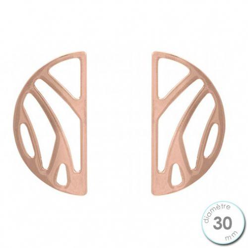 Boucles d'oreilles Les Georgettes motif perroquet finition Or rose diamètre 30 mm