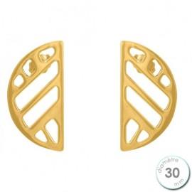 Boucles d'oreilles Les Georgettes motif ruban finition Or jaune diamètre 30 mm