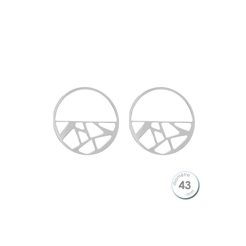 Boucles d'oreilles Les Georgettes motif girafe finition argent diamètre 43 mm