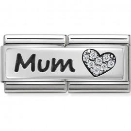 Maillon Nomination classic double Plaque lisse Argent Mum