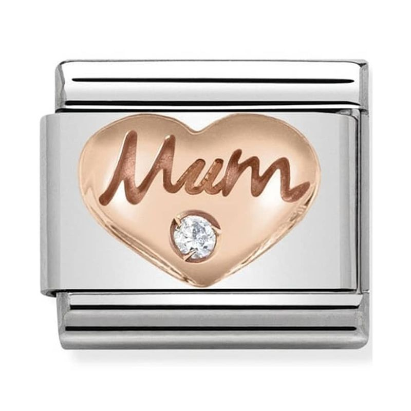 Maillon Nomination classic coeur mum oxyde Or rose