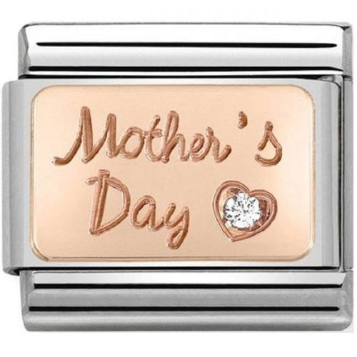 Maillon Nomination classic Mother's Day avec oxyde en Or rose