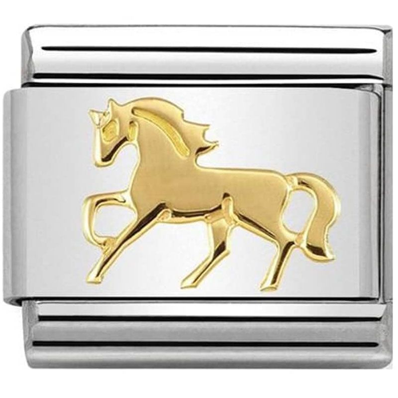 Maillon Nomination classic cheval au galop en Or
