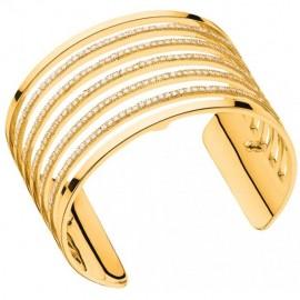 Bracelet manchette Les Georgettes précieuses parallèles finition Or jaune large et oxydes