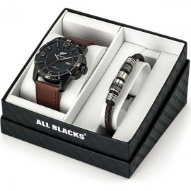 Coffret de montre homme All Blacks cuir marron + bracelet en acier