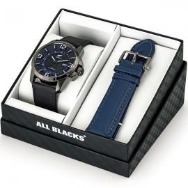 Coffret de montre homme All Blacks cuir noir + bracelet bleu en cuir