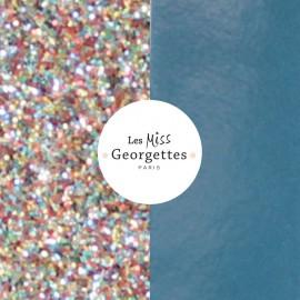 Cuir reversible miss les Georgettes paillettes multicolores/Bleu jean vernis