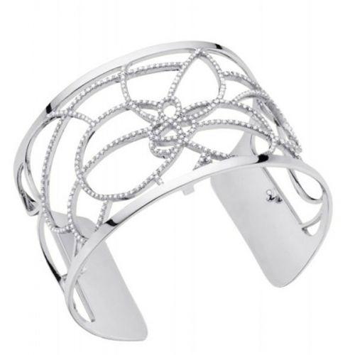 Bracelet manchette Les Georgettes précieuses pétales finition Argent large et oxydes