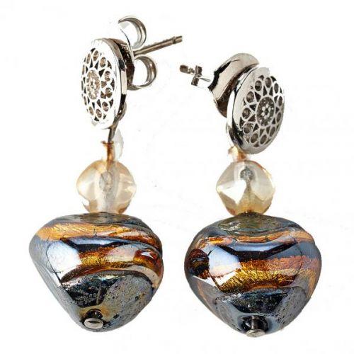 Boucles d'oreilles acier et perles en verre de Murano