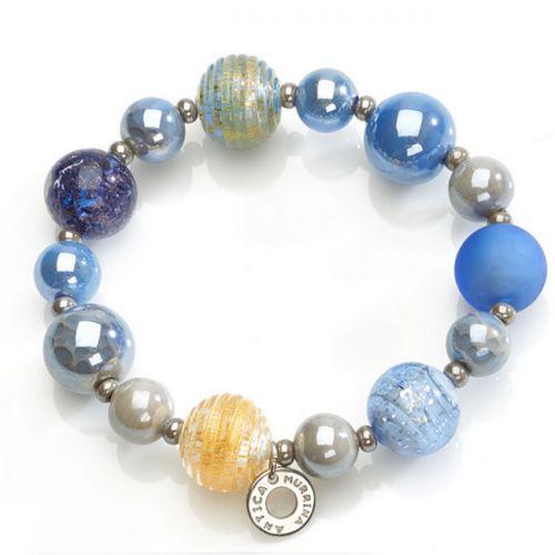 Bracelet acier et perles en verre de Murano