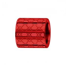 Charms bracelet homme acier forme double anneau rouge