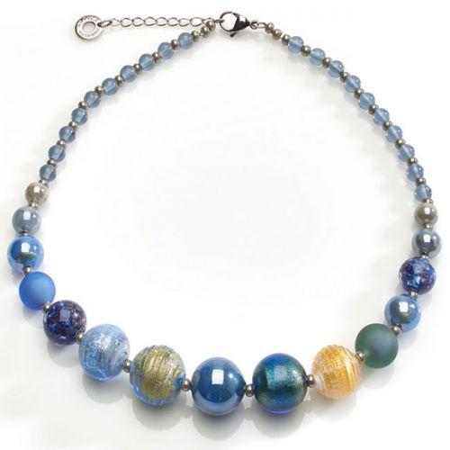 Collier Acier et perles en verre de Murano