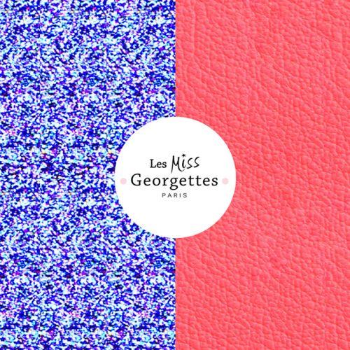 Cuir reversible miss les Georgettes paillettes roses/orange