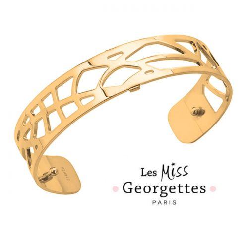Bracelet manchette miss Les Georgettes motif fougères finition Or jaune