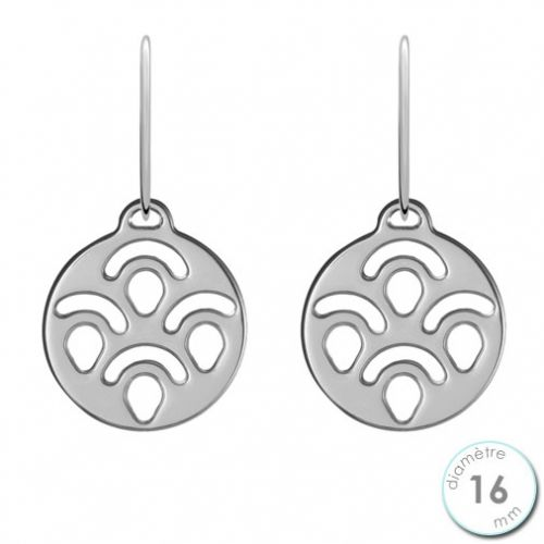 Boucles d'oreilles Les Georgettes motif poissons finition argent diamètre 16 mm