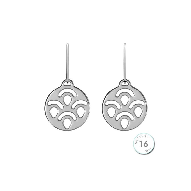 Boucles d'oreilles Les Georgettes motif perroquet finition argent diamètre 16 mm