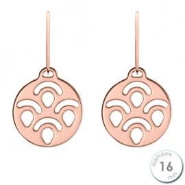 Boucles d'oreilles Les Georgettes motif poissons finition Or rose diamètre 16 mm
